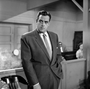 "August 22, 1958 PERRY MASON ""The Case of the Sardonic Sergeant"" Raymond Burr as Perry Mason. T15441_74 Copyright CBS Broadcasting, Inc., All Rights Reserved, Credit: CBS Photo Archive"